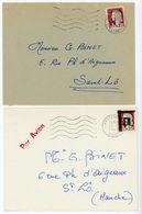 LOT 2 X LETTRE AVION PERIODE EA ALGERIE SURCHARGE EA / DECARIS PHILIPPEVILLE 21/09/1962 & HUSSEINDAY 10/08/1962 => FRANC - Argelia (1962-...)