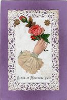 Bonne Et Heureuse Fête Carte Découpis Et Dentelle Une Mains Avec Des Roses - Other