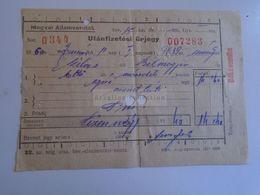 ZA282.8 Railway Ticket MÁV Hungary -1958  Békéscsaba -Szilas- Bélmegyer  Utánfizetési űrjegy  1960  Train - Chemins De Fer