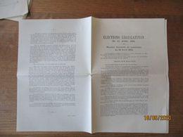 ELECTIONS LEGISLATIVES DU 27 AVRIL 1902 REUNION ELECTORALE DU 20 AVRIL 1902 DISCOURS DE M. EVRARD ELIEZ - Historical Documents