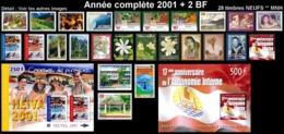 POLYNESIE Année Complète 2001 + BF (NEUF ** MNH) : Yv. 631 à 655 + BF 26 Et 27  (28 Tp)  ..Réf.POL25069 - Polynésie Française