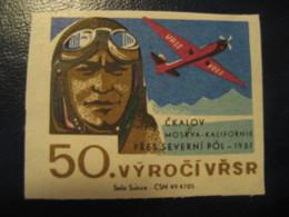 LEVANEVSKI Levanevsky 1933 Moscow San Francisco North Pole FLIGHT Polar Poster Stamp Vignette CZECHOSLOVAKIA Label - Polar Flights