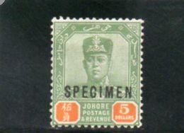 JOHORE 1921-37 * SURCH. SPECIMEN - Johore