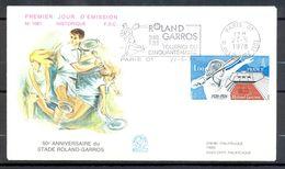 Enveloppe Philatelique Premier Jour FDC N° 1081 Flamme Roland GARROS PARIS Tournoi Du Cinquantenaire 1978 - Y&T 2012 - Tennis