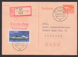 "Berlin ZPF 8.7.86 10 Pf. Ganzsache Mit 50 Pfg. ""Fabriktrawler Atlantik 488"" DDR3004, Portogenau, Leipziger Messe 1986 - Postcards - Used"