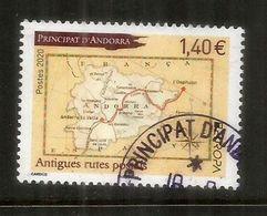 EUROPA 2020.Antiguas Rutas Postales A Andorra, Mapa De Andorra.,sello Cancelado  1ª Calidad AND.FR - Andorra Española