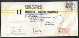 IZ849   Italia 1972 - Raccomandata Da Seregno - Annullo Dopo La Partenza  £.180 Siracusana Isolato - 1971-80: Marcophilie
