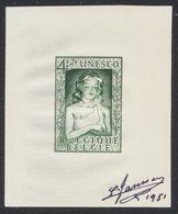"""Essai - Petit Feuillet """"UNESCO"""" Type COB N°844 En Vert (valeur Adopté). Signé  JANSSENS 1951. TB Et Rare - Proofs & Reprints"""