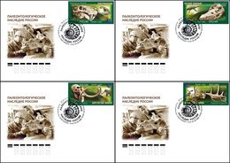 2020-2655-2658 FDC Canc St Petersburg Russia  Paleontological Heritage Of Russia. Prehistoric Fauna. Dinosaurs. Mammoths - FDC