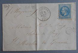 EMPIRE LAURE 29 SUR LETTRE DE CHATEAUBOURG A ST MARTIN DE GUINEE DU 6 AOUT 1870 (GROS CHIFFRE 928) - 1849-1876: Période Classique