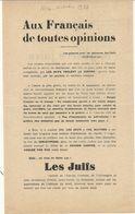 NICE . 1938 . TRACT ANTI JUIF - Documentos Históricos