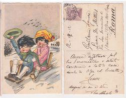 Bouret - Illustree, Signee, Enfant Ski Neige, Plaisirs De La Neige, Bambini Scivolano Sulla Slitta, Illustrata, 1927 - Bouret, Germaine