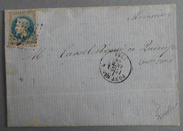 EMPIRE LAURE 29 SUR LETTRE DE PONT-CROIX A QUIMPER DU 21 OCTOBRE 1870 (GROS CHIFFRE 2929) - 1849-1876: Période Classique