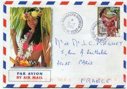 POLYNESIE FRANCAISE LETTRE PAR AVION DEPART MAHAREPA-MOOREA 10-11-2004 ILES-DU-VENT POUR LA FRANCE - Polynésie Française