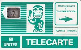 FRENCH POLYNESIA - TIKI Vert(PF1B)(grand Logo), Chip SC5, CN : 15542, Tirage %50000, 04/90, Used - Polynésie Française