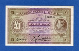 Malta 1 £ Pound ND (1940) - King George VI - Bradbury Wilkinson - Pick 20b XF+ - Malte
