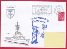 4226 Marine, PH Jeanne D'Arc, Campagne 2005-2006, Escale à New York, Oblit. Mécanique JDA, 23-12-2005, Marianne De Lamou - Posta Marittima