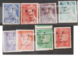 Série Timbres Libération Sospel 10,30,40,50c Mercure ,60,70,80c,1f Pétain,1f50 Bersier - Liberation