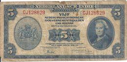 INDES NEERLANDAISES 5 GULDEN 1943 VG+ P 113 - Indes Neerlandesas