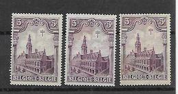 België  N° 272 (3 Zegels) (x) ZONDER GOM - Belgique
