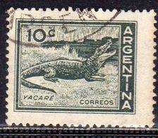 ARGENTINA 1959 1970 FAUNA ANIMALS CAYMAN CAIMANO YACARE' ANIMALI CENT. 10c USATO USED OBLITERE' - Argentina