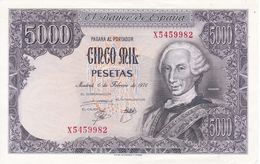 BILLETE DE ESPAÑA DE 5000 PTAS DEL AÑO 1976 SERIE X SIN CIRCULAR (BANKNOTE) UNCIRCULATED - [ 4] 1975-… : Juan Carlos I