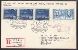 1945. SVERIGE. 90 öre  FOLKSKOLAN + 3-STRIP 10 ÖRE LUFTPOST On Cover From STOCKHOLM L... () - JF109340 - Briefe U. Dokumente