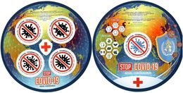 Tajikistan 2020 . Fight Against COVID-2019 Global Outbreak (Medicine,Aircraft,Red Cross) .  2 S/S - Tadjikistan