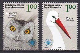 Tr_ Bosnien Herzegowina (Serbische Republik) 2008 - Mi.Nr. 442 - 443 - Postfrisch MNH - Tiere Animals Vögel Birds - Pájaros