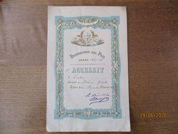 DISTRIBUTION DES PRIX ANNEE 1887-1888 1er ACCESSIT D'ECRITURE DECERNEE A DELANVE GABRIELLE LA DIRECTRICE L.BENAJAN - Diploma & School Reports
