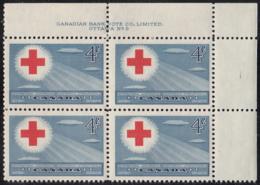Canada 1952 MNH Sc #317 4c Red Cross Conference Plate 2 UR - Números De Planchas & Inscripciones
