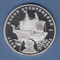 Benin 2002 Silbermünze 1000 Francs Seefahrt Klaus Störtebeker PP,  20g Ag925 - Münzen