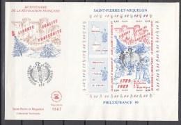 St Pierre Et Miquelon 1989,4V In Block,FDC,Philexfrance 89,bicentenaire Révolution Francaice(L3497) - Lettres & Documents