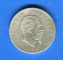 Italie  5  Lire  1874 M - 1861-1946 : Regno