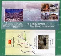 INDIA 2019 Inde Indien - CHAR DHAM - 4v Se Tenant FDC + Brochure MNH ** - HINDU TEMPLE, HINDUISM, Pilgrimage - As Scan - Hinduism