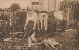 Post Card. A Highland  Washing At Kyle.  Woman Washing Clothes With Her Feet. Average Condition. Spots. - Scotland