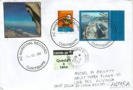 Lettre Du Paraná 2020,durant COVID19.Coronavirus, Adressée ANDORRA,avec Vignette Locale Prevention STAY HOME - Brasil