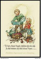 Einschulung / Schulanfang  -  Entwurf Ruthild Busch-Schumann  -  Mit Psalm-Text - Ansichtskarte Ca. 1950  (13108) - Premier Jour D'école