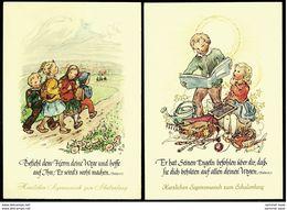 2 X Einschulung / Schulanfang - Entwurf Ruthild Busch-Schumann - Mit Psalm-Texte - Ansichtskarten Ca. 1950  (13106) - Premier Jour D'école