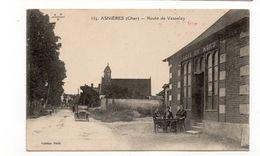 18 - ASNIÈRES (Bourges) Route De Vasselay - Animée + Tacot - Marcophilie Du Centre De Mobilisation  (J92) - Bourges