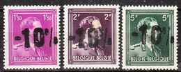 724B/F**  Leopold III Col Ouvert Surchargé -10% - RHODE ST GENESE - Série Complète - MNH** - LOOK!!!! - 1946 -10%
