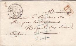 PSC De Paris (75) Pour Nogent-sur-Seine (10) - 2 Avril 1837 - CAD Type 13 & 14 - TM 4 Barrée + Cachet P.P. Port Payé - 1801-1848: Precursori XIX