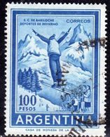ARGENTINA 1959 1970 BARILOCHE TOURISM SKI JUMPER PESOS 100p  USATO USED OBLITERE' - Argentina