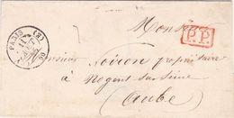 PSC De Paris (75) Pour Nogent-sur-Seine (10) - 11 Août 1845 - CAD Rond Type 13 & 15 - Cachet P.P. Port Payé Rouge - 1801-1848: Voorlopers XIX