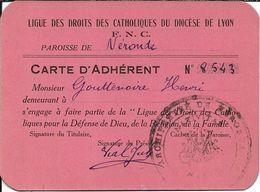 Petite Carte D 'Adhérent Du Diocèse De LYON - Old Paper
