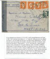 DULAC 5FRX4+2FR GANDON LETTRE AVION PARIS 12.5.1945 POUR MARTINIQUE + CENSURE - 1944-45 Marianne Van Dulac