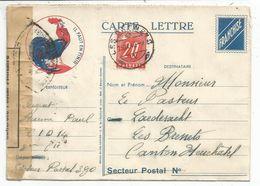 CARTE LETTRE FM COQ IL FAUT EN FINIR MENTION SP 390 POUR SUISSE TAXE 20C BRENETS + CENSURE WF 392 - Marcophilie (Lettres)