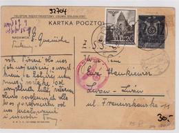 GG: Ganzsache Als Einschreiben Von Pulawy Nach Russland, Zensur - Occupation 1938-45