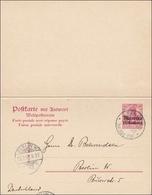Marokko: Ganzsache Mit Antwort Von Tanger Nach Berlin 1908 - Deutsche Post In Marokko