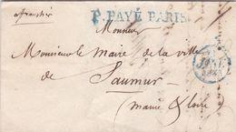 LAC De Paris (75) Pour Saumur (49) - 19 Janvier 1833 - CAD Rond Type 12 & Dateur A - Marque Linéaire P. PAYE PARIS Bleu - 1801-1848: Precursori XIX
